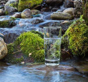 Glas Wasser vor einem Gebirgsfluss