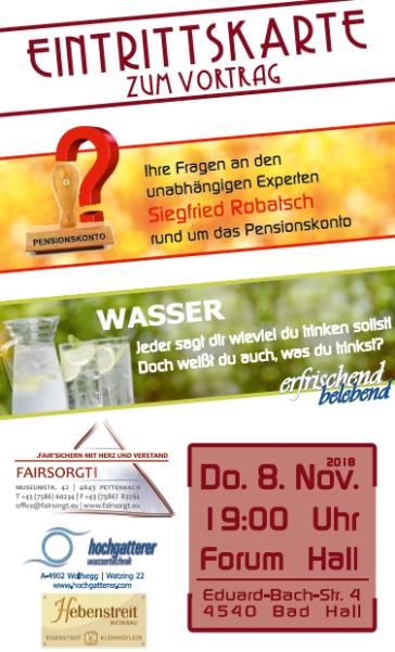 Eintrittskarte zum Vortragsabend zum Thema Pensionskonto, Trinkwasser mit kulinarischer Begleitung des Weingutes Hebenstreit