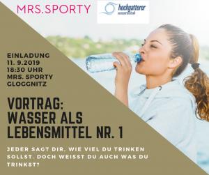 Information über Vortragsabend bei Mrs. Sporty Gloggnitz am 11.9 18:30 Uhr