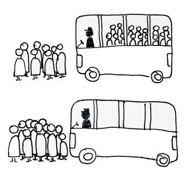 Ein mit Fahrgästen voller Bus und ein leerer Bus. Beide Fahren auf eine Haltestelle zu, bei der weitere Fahrgäste warten